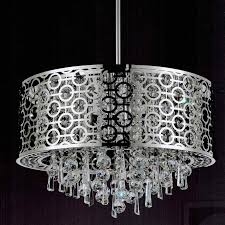 lighting stunning crystal drum chandelier 23 0001590 20 forme modern laser cut shade round pendant stainless