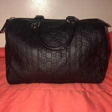 gucci leather joy boston satchel bag black