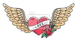 Fototapeta Ručně Kreslené Tetování Srdce S Křídly Stuhou Květinou A Slovem