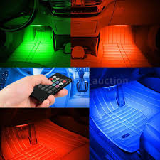 Car Light Decoration Remote 7 Color Led Rgb Car 4 Bar Interior Atmosphere Lights
