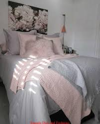 bedroom with grey bedding blush pink