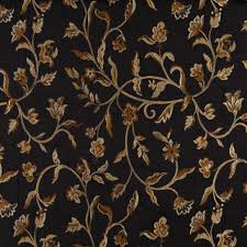 Floral Brocade A0011c Midnight Gold And Ivory Floral Brocade Upholstery Fabric By The Yard