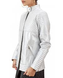silver quilted leather jacket