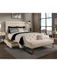 Republic Design House Cambridge Ivory Tufted Upholstered Queen Bedroom  Collection With Sofa Bench Option Queen Sofa Bench Storage R66
