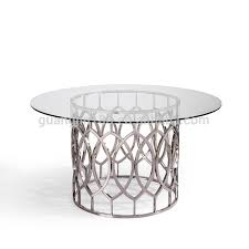 stainless steel base tempered glass round dining table