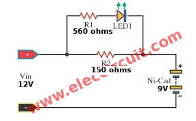 simple nicad battery charger circuit by little part eleccircuit simple 9 volts nihm nicd battery charger circuit