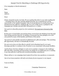 Solicitation Latter Sample Correspondence Matching Gift Solicitation Letter