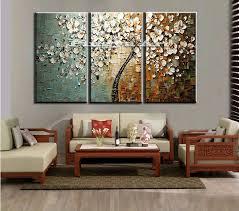 cheap decorating ideas for living room walls. 3 Panel Abstract Wall Art Cheap Modern Handmade Tree Living Room Decor Decorating Ideas For Walls T