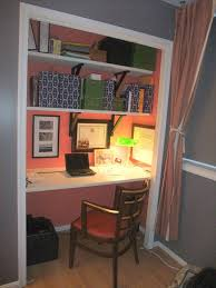 office in closet. Convert A Wide Closet To An Office Space - I Especially Love The Reuse Of Old Bi-fold Doors As Shelving, And Gorgeous Interior Color Help Set It In E
