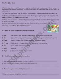 the fox and the goat esl worksheet