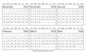 November 2019 Through April 2020 Calendar Editable Image