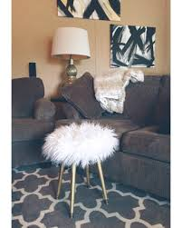 white and gold vanity stool. White Faux Fur Stool Metallic Gold Wood Legs Fake Vanity Or Desk Throughout And