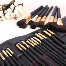 32pcs makeup brush set cosmetic brushes make up kit gold pouch bag case incoins mac