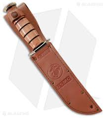 ka bar bowie full sized usmc presentation knife leather sheath 7 black 1215 blade hq