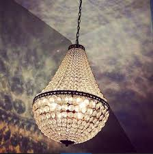 pottery barn mia faceted crystal glass pendant chandelier light antique bronze