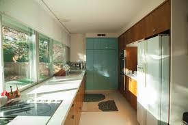 Interior: Mid Century Modern Kitchen Design With White Countertop ...