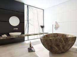 modern bathroom design with unique shaped bathtub