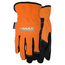 details about lined work gloves outdoor winter synthetic leather palm extra large men s orange