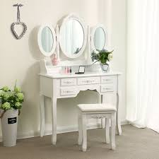 Tri-folding Mirror Vanity Set Makeup Table Bedroom 7 Drawers Dressing Desk  Wood