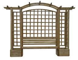 planter garden arch with a seat