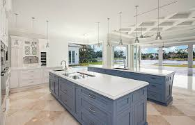 luxury kitchen with contrasting storm gray and white cabinets with two islands
