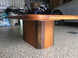 description stone and teak coffee table