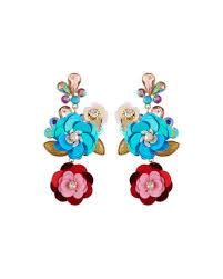 multi flower drop earrings