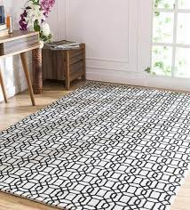 geometric pattern wool and viscose 8 x 5 feet hand tufted carpet by jaipur rugs