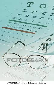Eye Chart With Glasses And Prescription Stock Photo