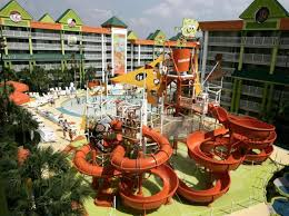 garden grove hotel. Visitors To Nickelodeon Family Suites Enjoy The Water Slide And Pool In Orlando, Fla Garden Grove Hotel