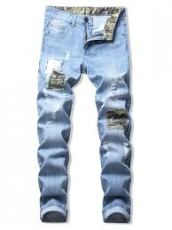 [55% OFF] 2020 <b>Camouflage Patchwork</b> Destroy Wash Long Jeans ...