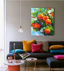 orange painting kitchen wall art dining room decor orange tree artwork