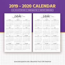 Callendar Planner 2019 2020 Calendar Printable Calendar Planner Design Best Planner Planner Printable Planner Inserts Filofax A5 A4 Letter Instant Download
