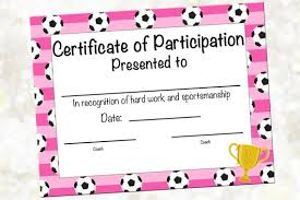 Soccer Certificate Of Participation Soccer Award Print At Home Soccer Mvp Soccer Certificate Of Achievement Pink Soccer Theme