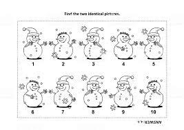 Twee Identieke Fotos Met Visuele Puzzel Sneeuwpop En Kleurplaat