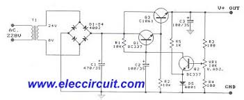 electronic projects circuits adjustable dc power supplies regulator 0 30v 1a by transistor c1061