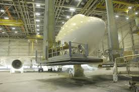 planes are painted with electrostatic spraying equipment