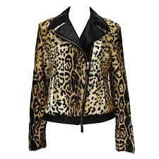 new etro exotic fur lamb leopard print leather moto jacket it 42 44 for