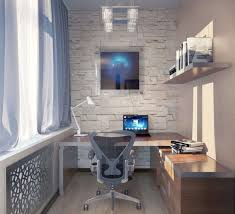 small home office space home. Decorations : Modern Small Home Office Space With L Shape Brown Solid Wood Computer Desk And White Wall Also Comfortable Laminated Chair