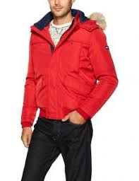 Tommy Hilfiger Mens Technical Bomber Jacket With Faux Fur