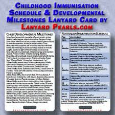 Child Immunisation Chart Details About Childhood Immunisation Schedule Developmental Milestones Lanyard Badge Card