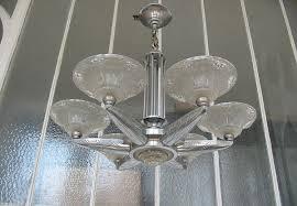 modernist art deco chandelier 7 glass parts and nickel coated bronze fixture
