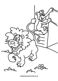 Kleurplaat Leeuw Aap Dierentuin Dieren