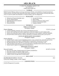 Resumes Finance Resume Manager Executive Amazing Examples
