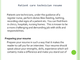 Patient Care Technician Job Description Patient Care Technician Sample Resume Resume For Study 14