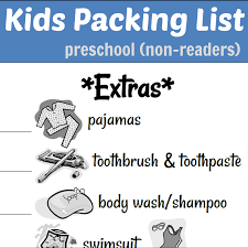 kids packing list reader non reader version kids packing list preschool non reader com teach kids how to pack family