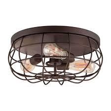 millennium lighting neo industrial rubbed bronze three light flush mount fixture ceiling lamp