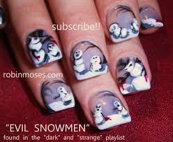 evil snowman, gothic nails, emo nails, gray and black nails, happy ...