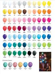 Qualatex Balloons Color Chart Color Chart Qualatex Latex Balloons Fly Me To The Moon