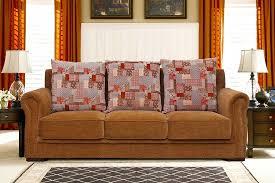 alton 3 seater light brown fabric sofa